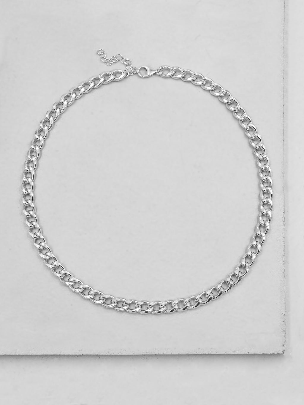 Thick Cuban Link Necklace - Silver