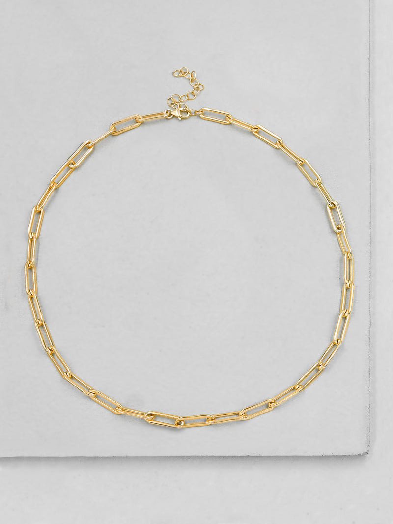 Large Paperclip Necklace - Gold