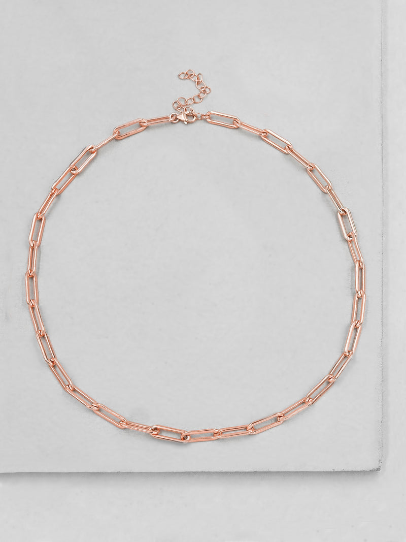 Large Paperclip Necklace - Rose Gold
