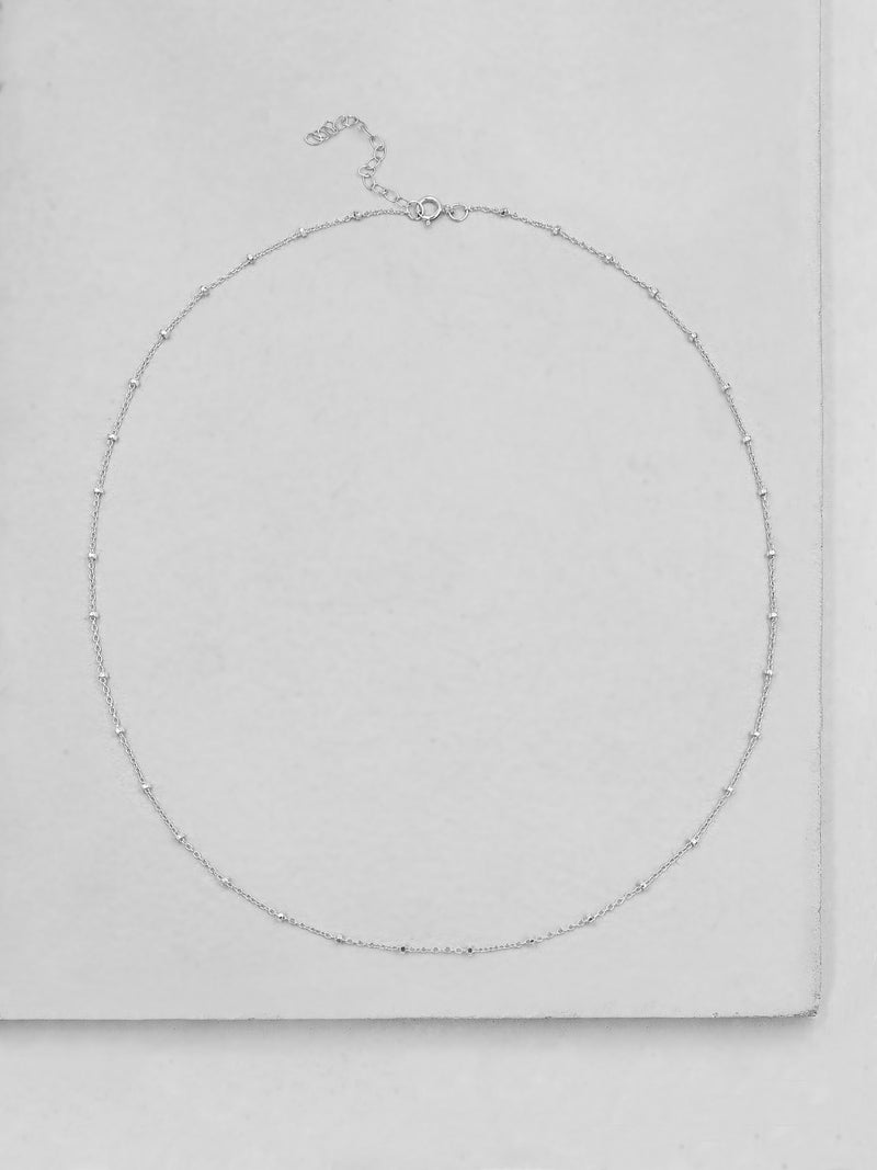Diamond Cut Beaded Chain - Silver