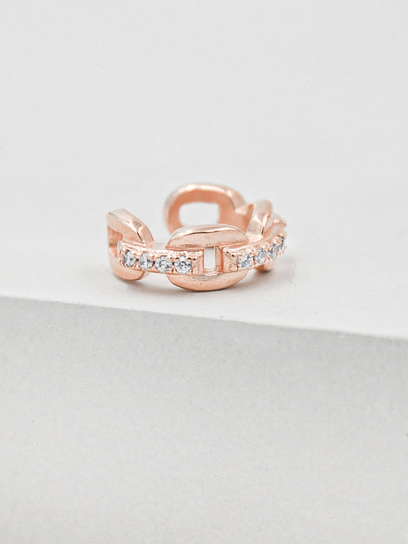 Paperclip Chain Ear Cuffs - Rose Gold