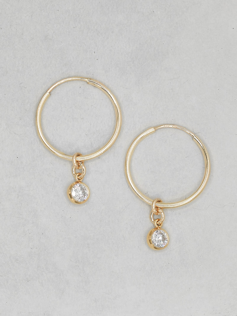 Charm hoops with Round White CZ Dangling Earrings by The Faint Hearted Jewelry