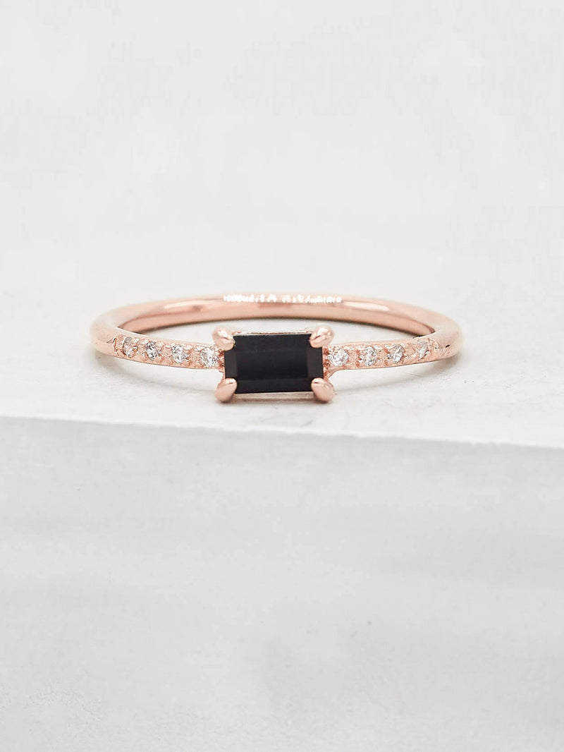 Classic Baguette Ring - Rose Gold + Black