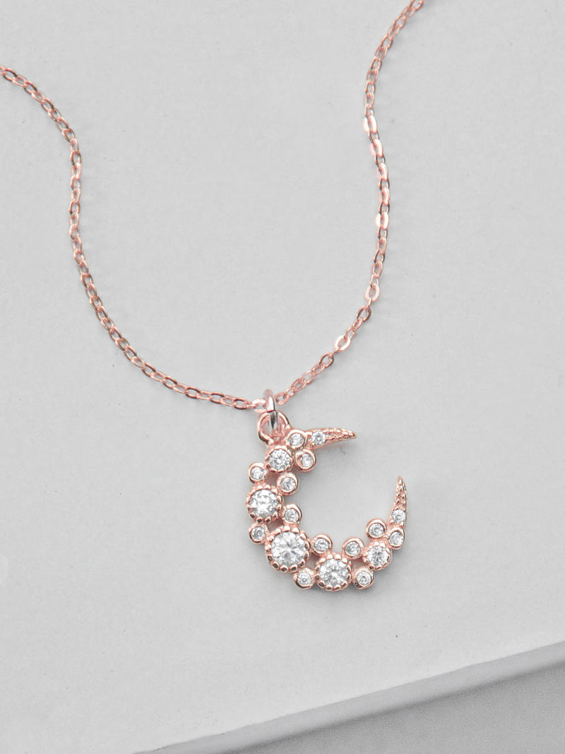 Cluster Moon CZ Charm Rose Gold Necklace  by The Faint Hearted Jewelry