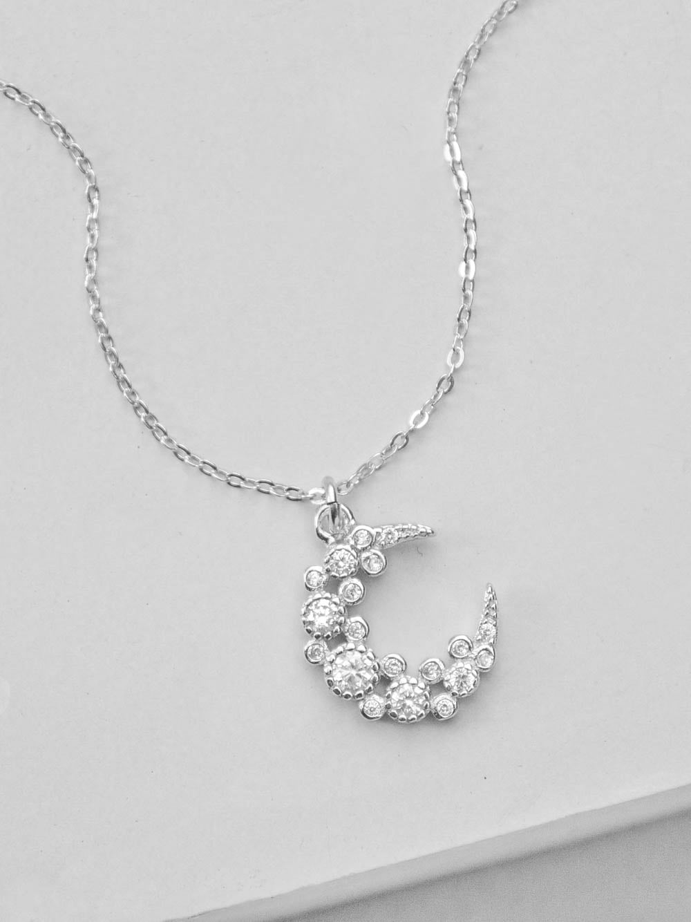 Silver Cluster Moon CZ Charm Necklace  by The Faint Hearted Jewelry