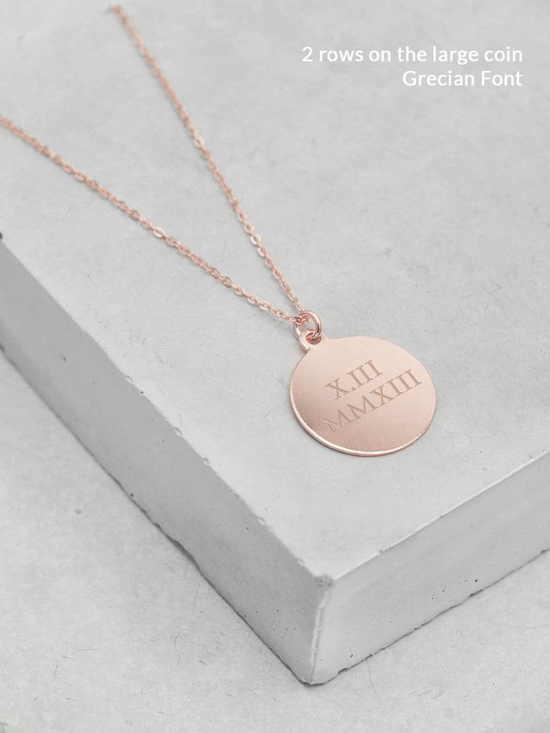 Large Coin Rose Gold Necklace by The Faint Hearted Jewelry
