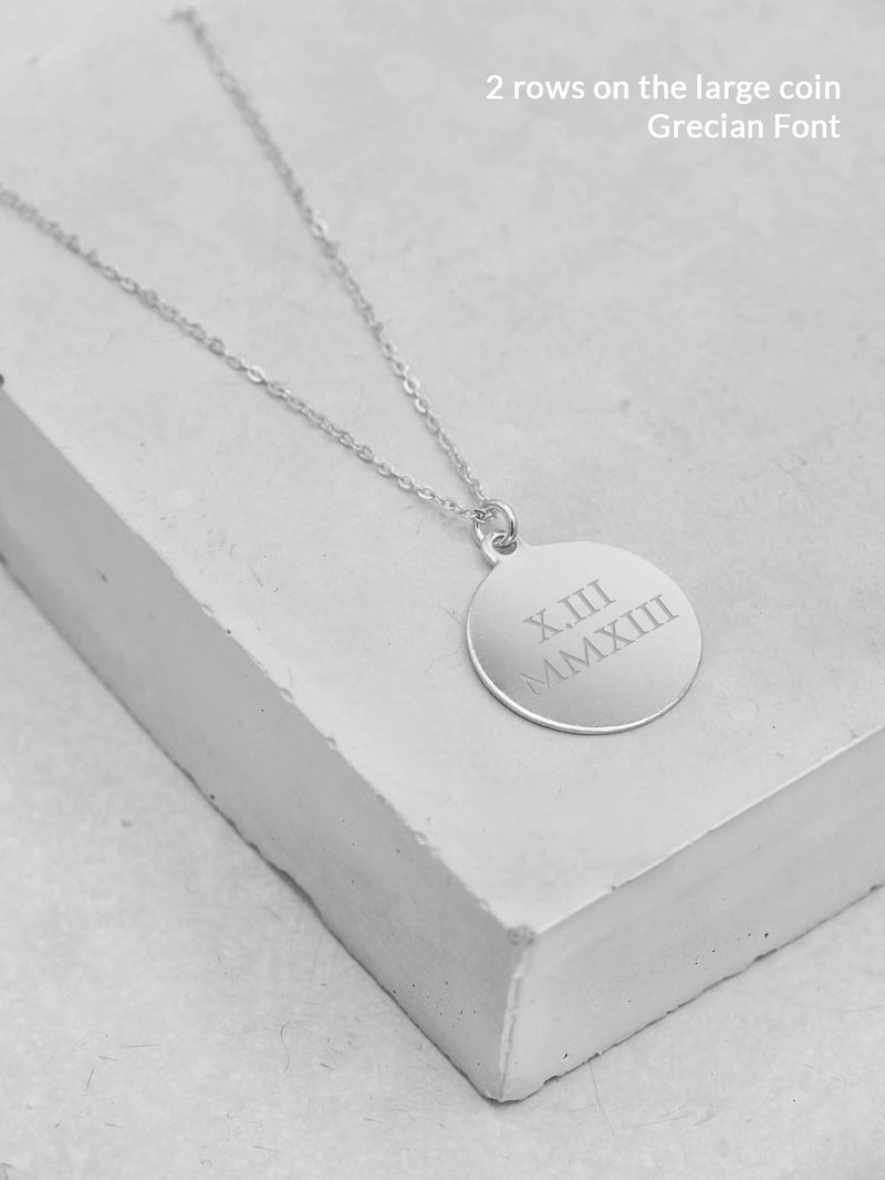 Sterling Silver Engraved Coin Necklace by The Faint Hearted Jewelry