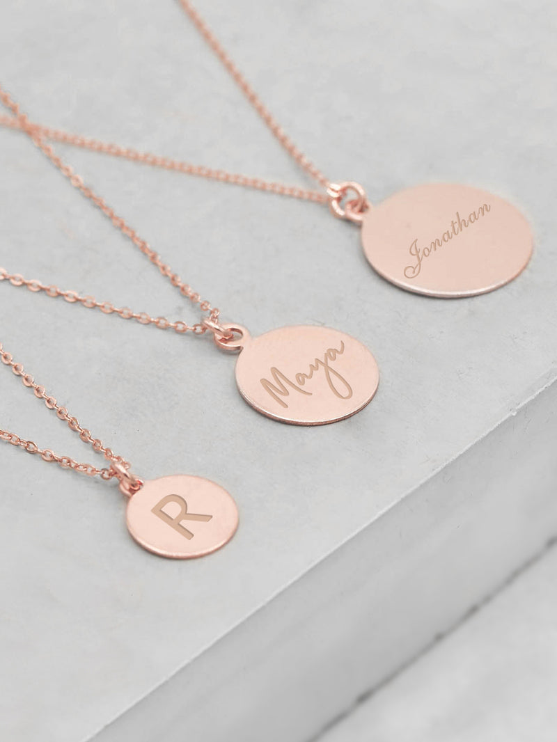 Rose Gold Coin Engraved Charm Necklace by The Faint Hearted Jewelry