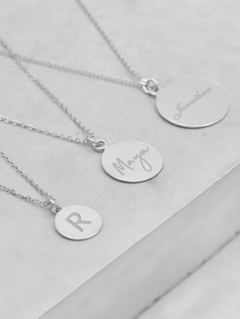 Coin Engraved Charm Silver Necklace by The Faint Hearted Jewelry