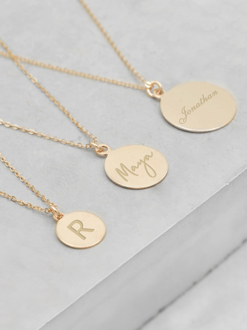 Gold Coin Engraved Charm Necklace by The Faint Hearted Jewelry