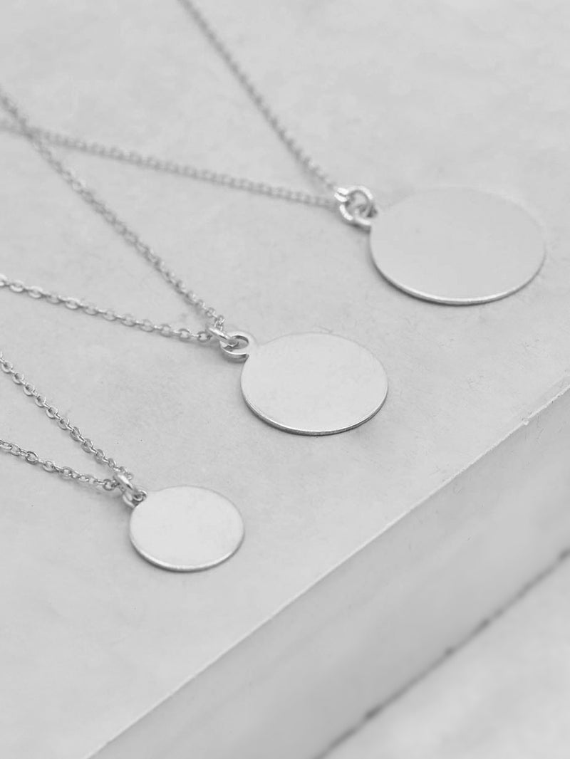 Plain Sterling Silver  Coin Necklace by The Faint Hearted Jewelry