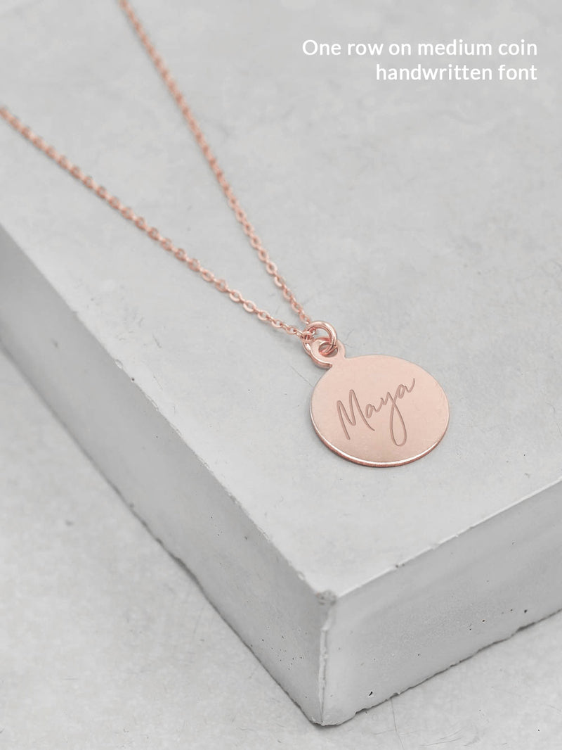 Engraved Gold Coin Necklace by The Faint Hearted Jewelry