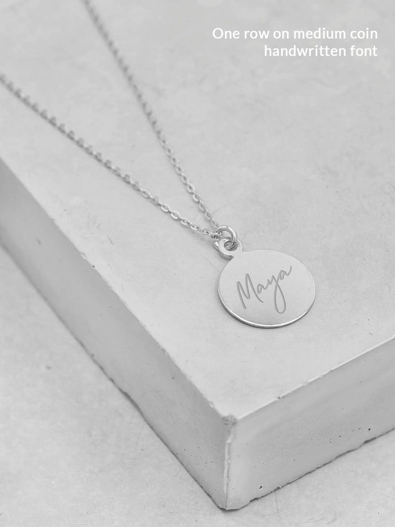 Engraved Coin Necklace - Silver