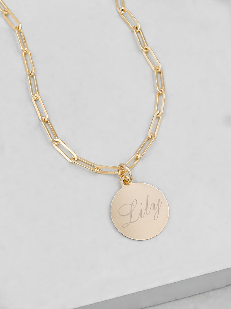 Paperclip Coin Necklace - Gold