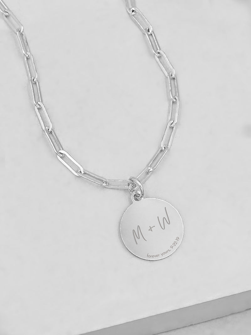 Paperclip Coin Necklace - Silver