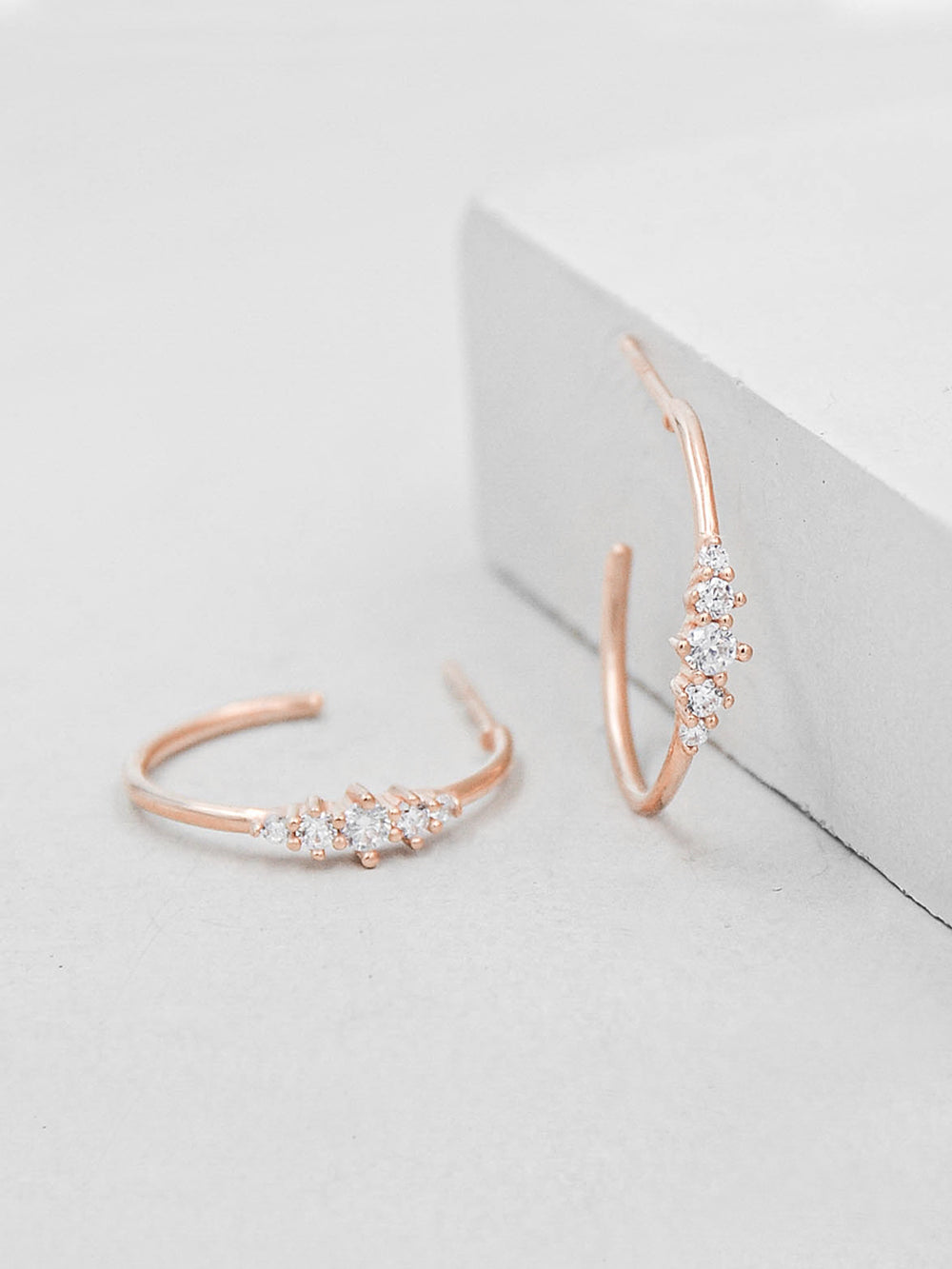 Rose Gold Plated Crown design CZ Hoops Dangling Earrings by The Faint Hearted Jewelry