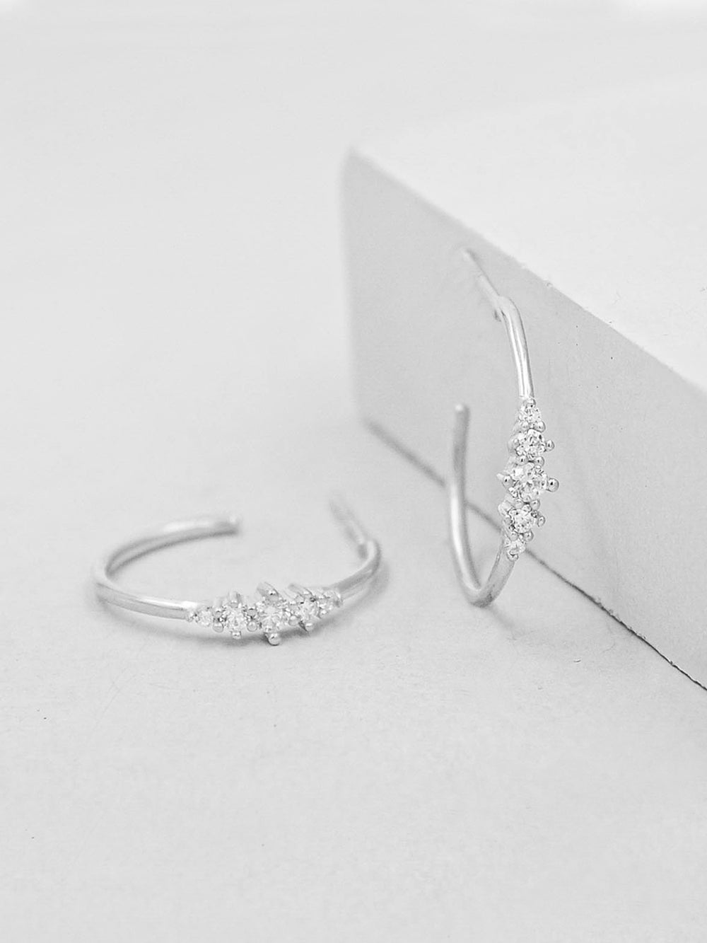 Crown Hoops - Silver