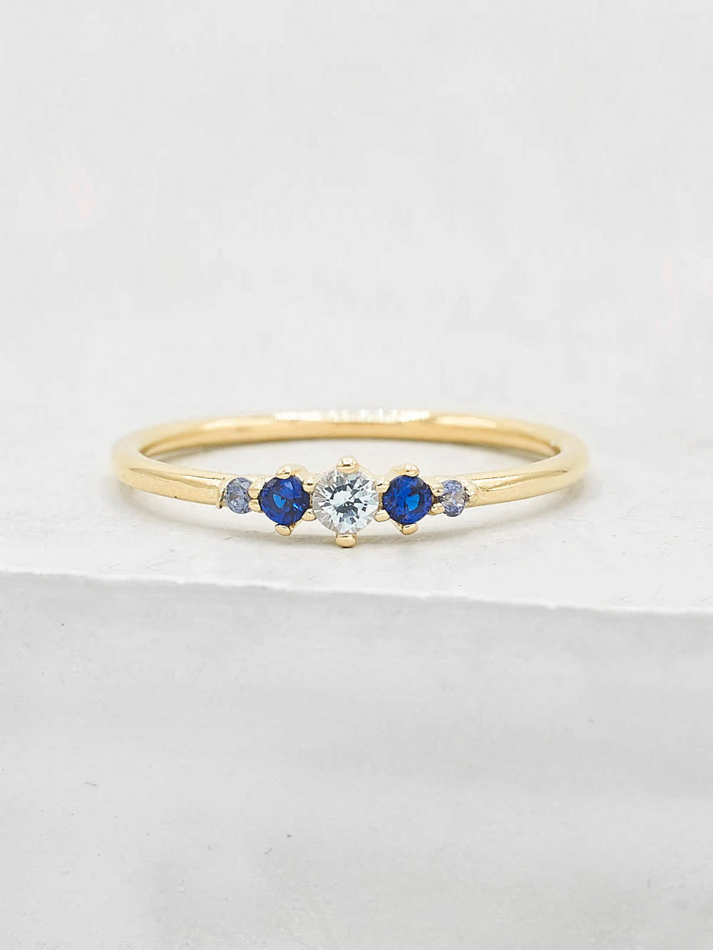 Gold Plated Brass Crown Design Blue  Five Stone Round CZ Ring by The Faint Hearted Jewelry