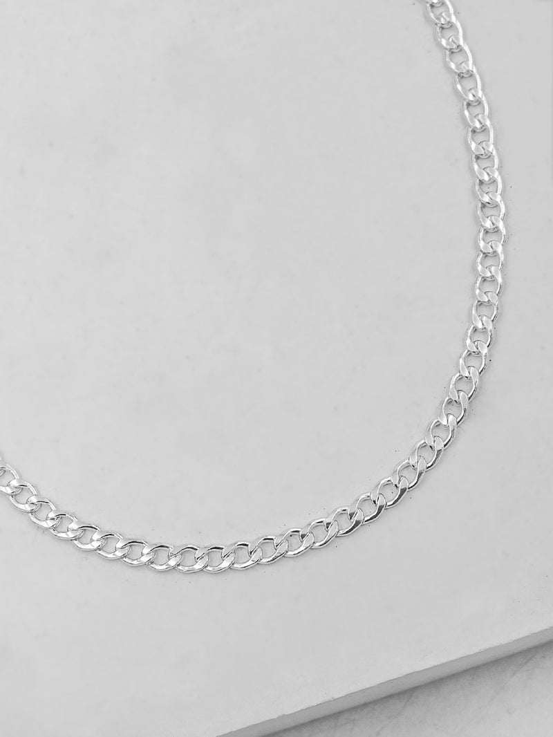 Curb Chain Silver Necklace by The Faint Hearted Jewelry
