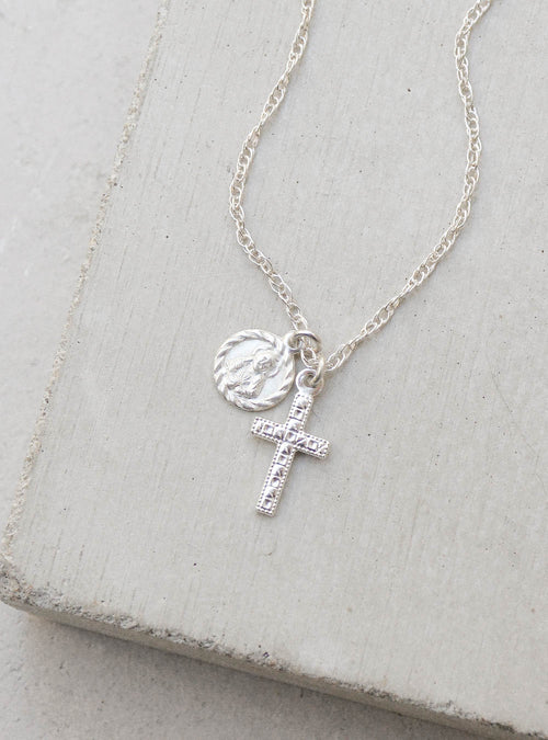 Saint and Cross Silver Charm Necklace by the Faint Hearted Jewelr