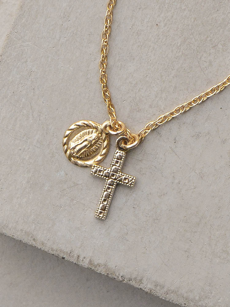 Saint and Cross Gold Fill Charm Necklace by the Faint Hearted Jewelry