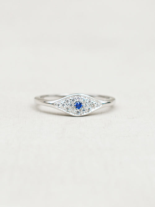 Evil Eye Ring - Silver + Tanzanite