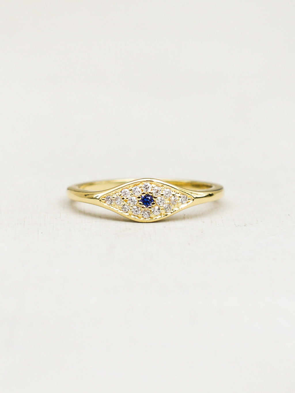 Gold Evil Eye Stacking Ring by The Faint Hearted Jewelry