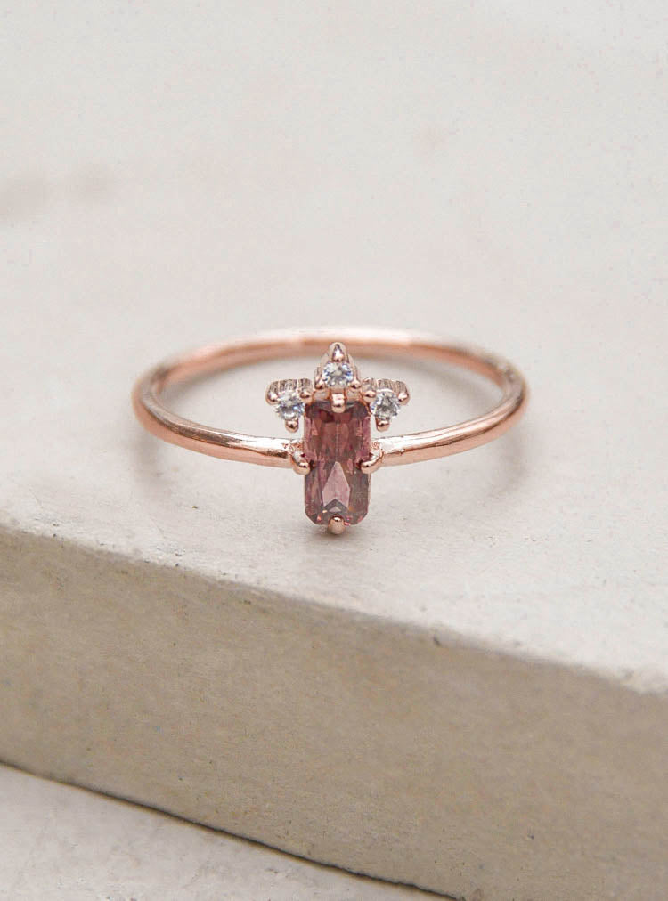 Rose Gold Rhodolite Baguette Ring by The Faint Hearted Jewelry