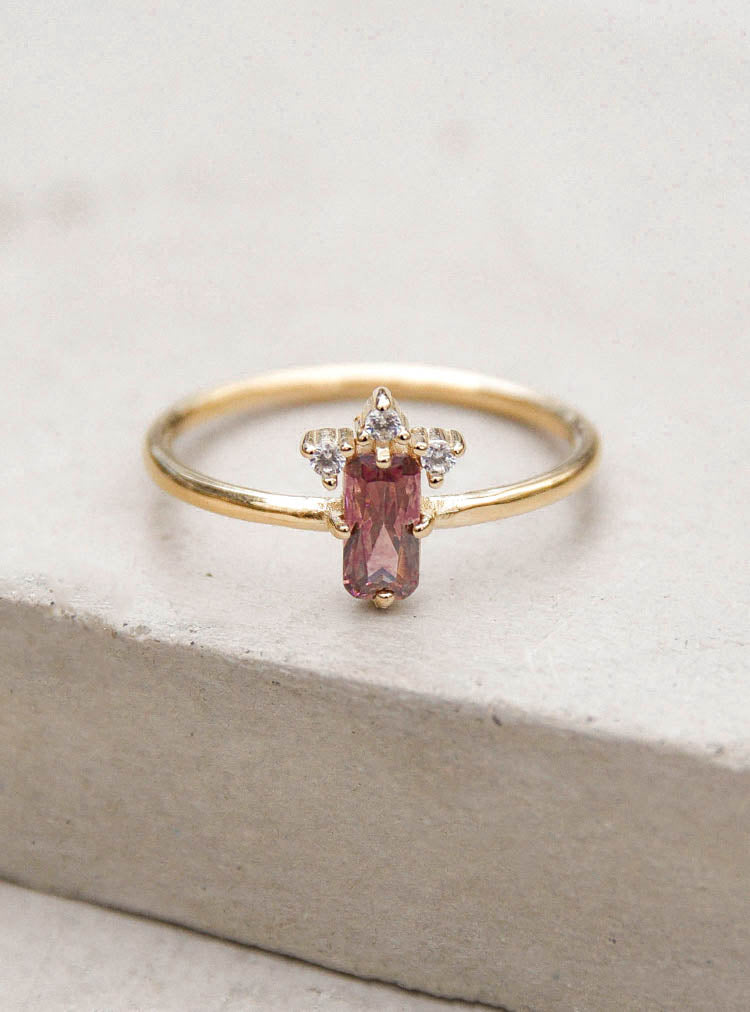 Gold Rhodolite Baguette Crown Ring by The Faint Hearted Jewelry