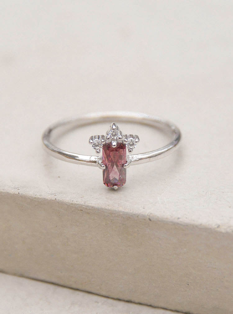 Silver Rhodolite Baguette Ring by The Faint Hearted Jewelry