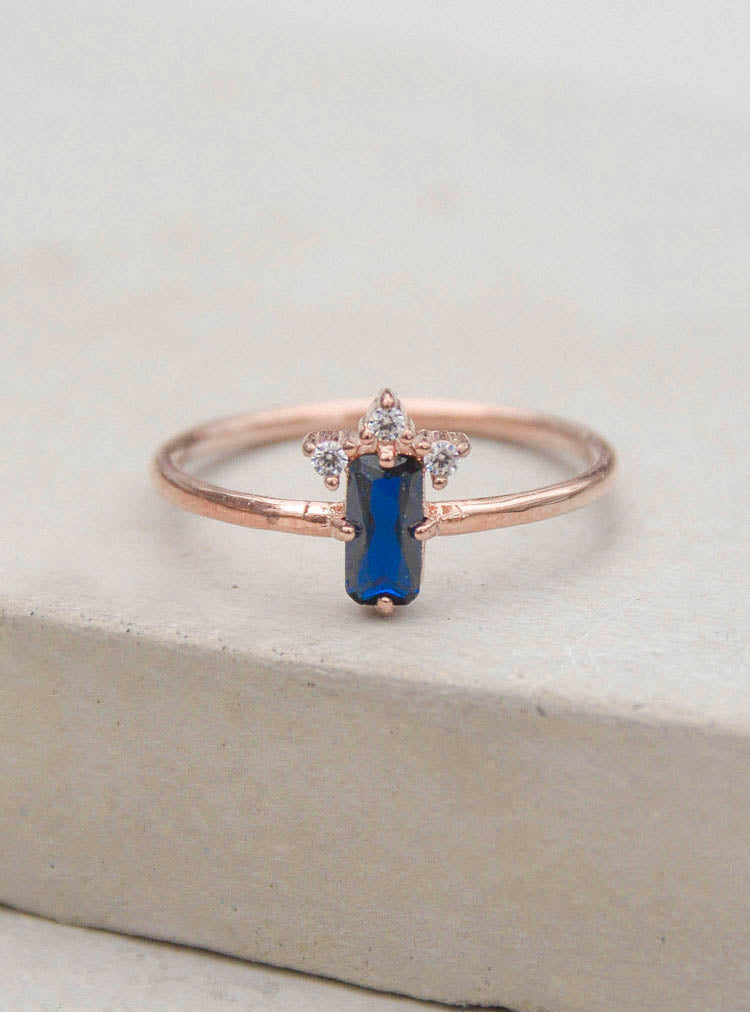 Rose Gold Sapphire Baguette Ring by The Faint Hearted Jewelry