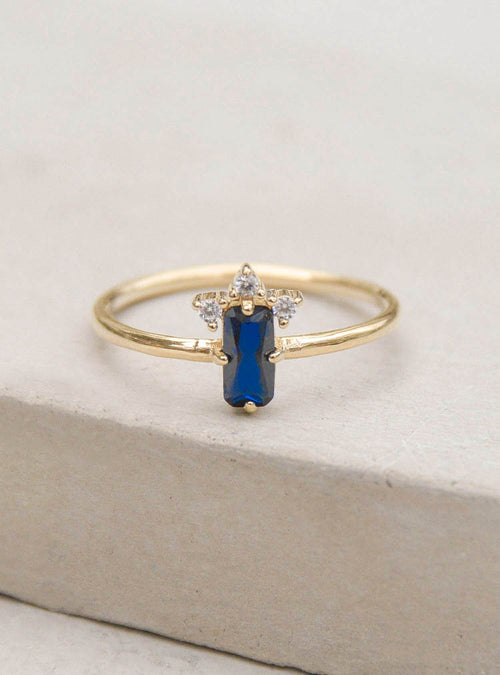 Baguette Crown Ring - Gold + Blue