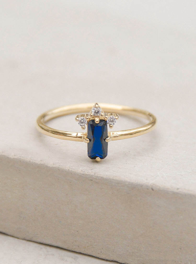 Gold Sapphire Baguette Ring by The Faint Hearted Jewelry