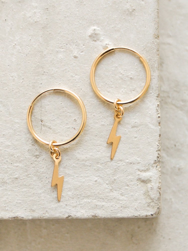 Lightning Bolt Charm Hoop Earrings by The Faint Hearted Jewelry