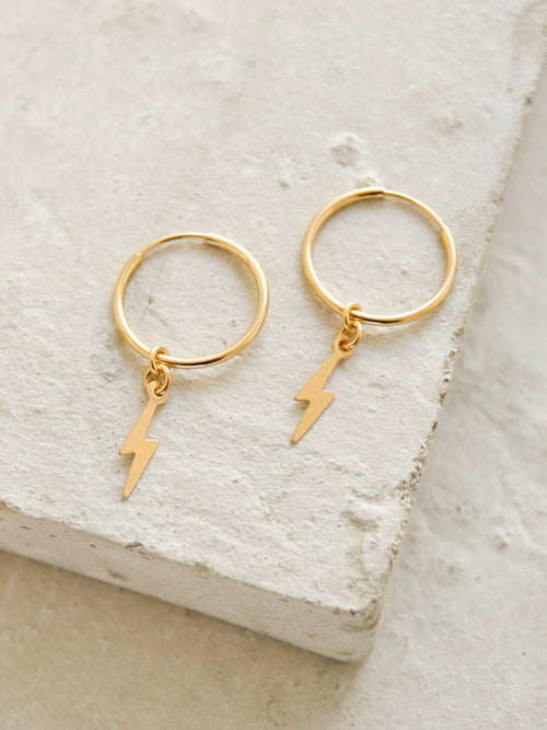lightning bolt charm hoop earrings the faint hearted