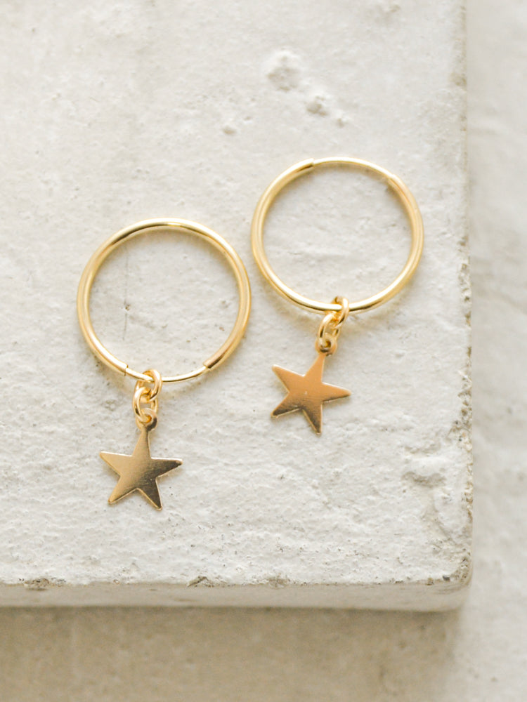 Star Charm Hoop Earrings by The Faint Hearted Jewelry