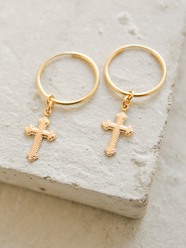 Cross Charm Hoop Earrings by The Faint Hearted Jewelry