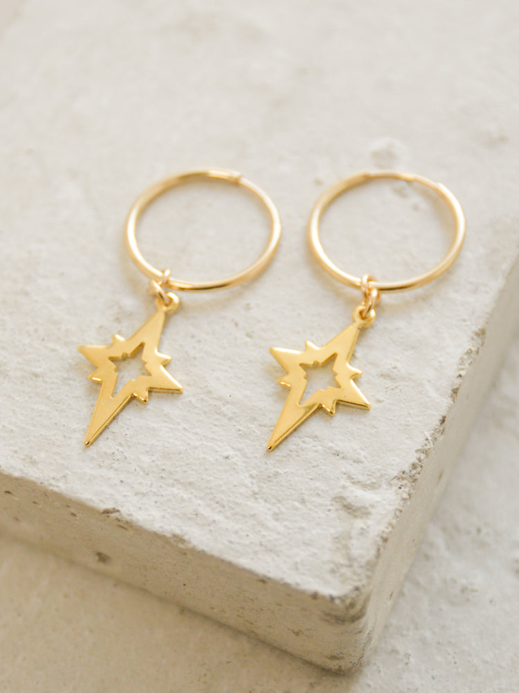 North Star Charm Hoop Earrings by The Faint Hearted Jewelry