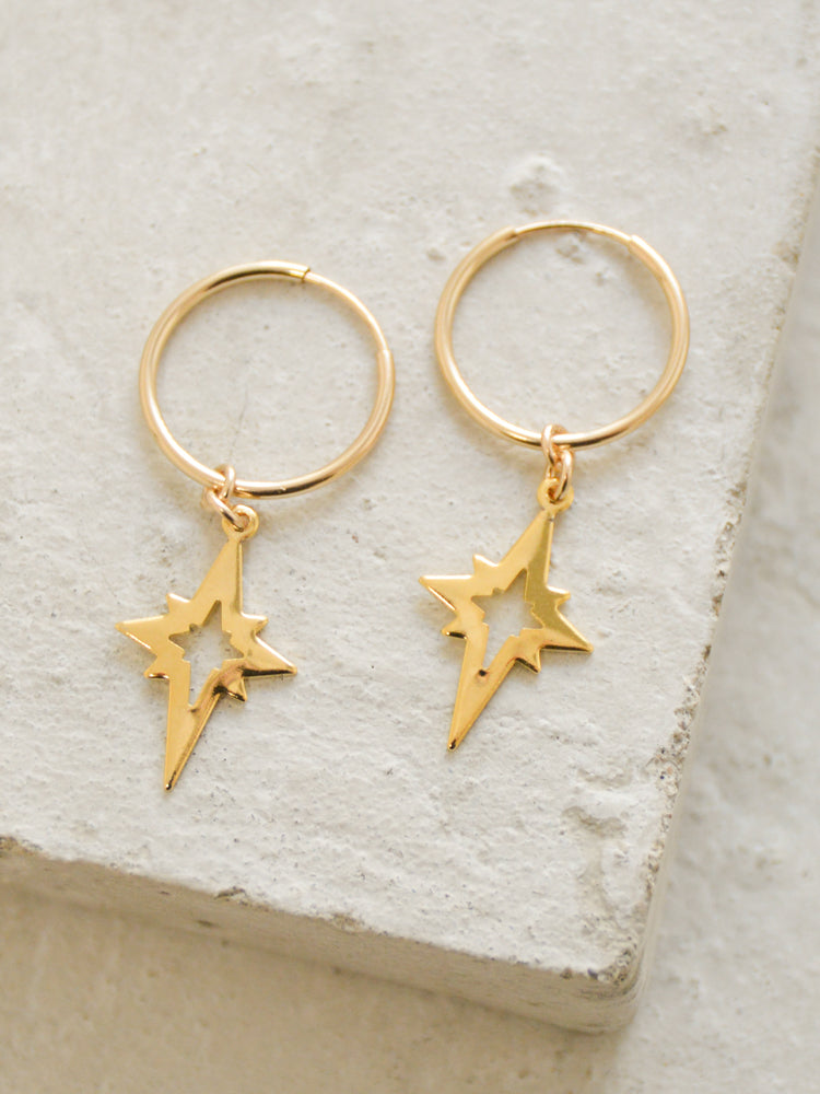 north star charm hoop earrings the faint hearted