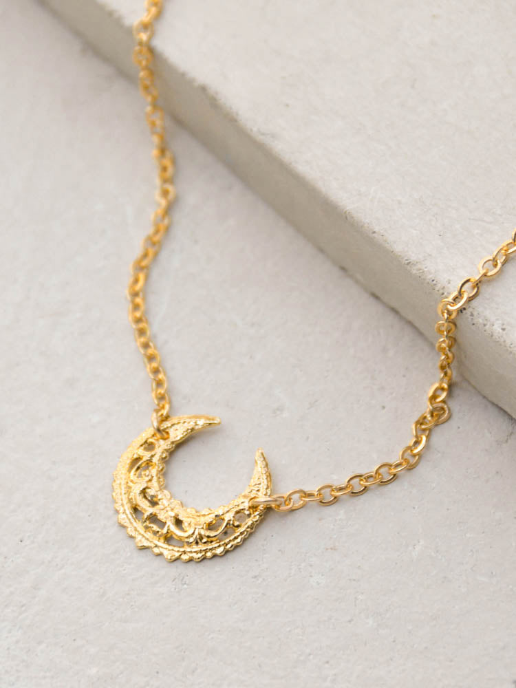 Filigree Moon Necklace by The Faint Hearted Jewelry