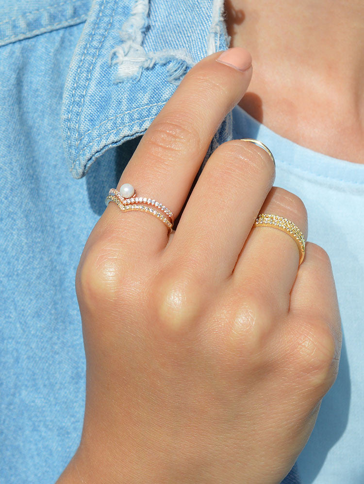 V pearl ring and V ring stacking rings by the faint hearted jewelry