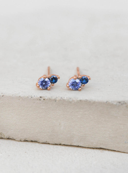 Rose Gold Sapphire Studs by The Faint Hearted Jewelry