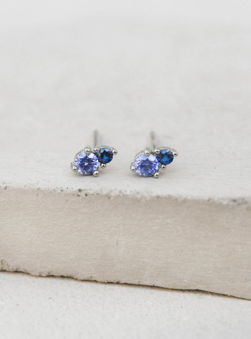 Tiny Sapphire Studs by The Faint Hearted Jewelry