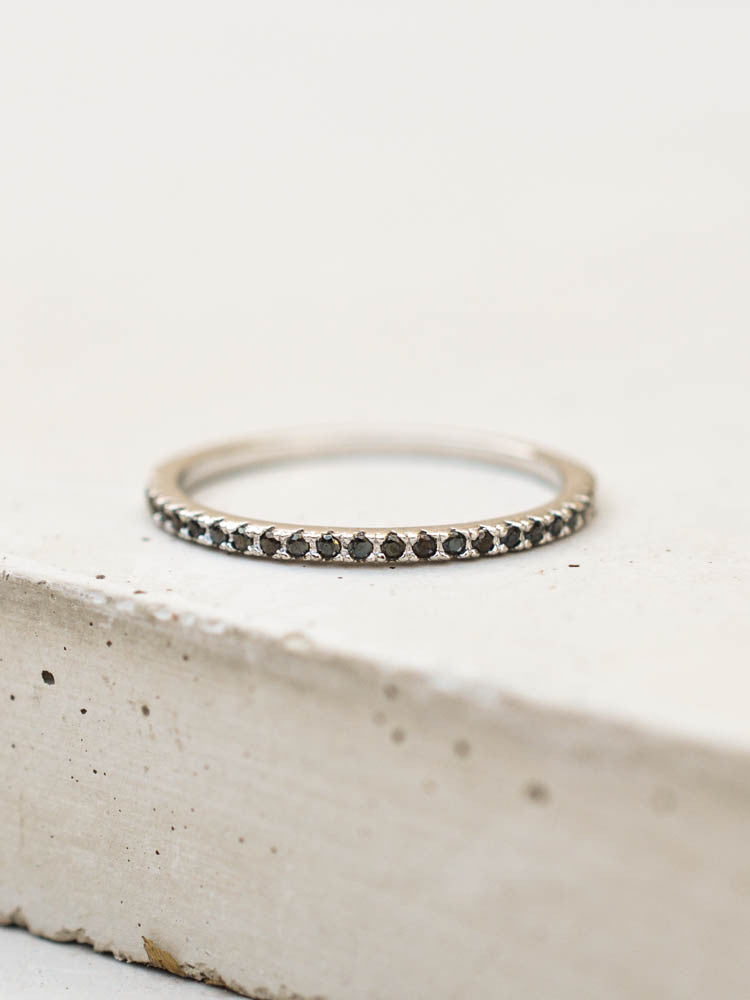 Silver Eternity band Ring with Black Stones by The Faint Hearted Jewelry
