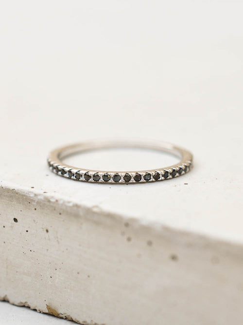 Silver Eternity band Ring with Black stones