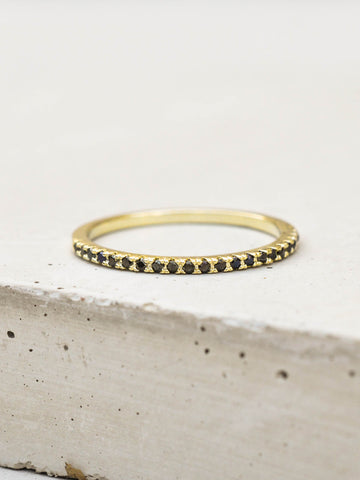 Baguette Eternity Ring - Rose Gold + Rhodolite