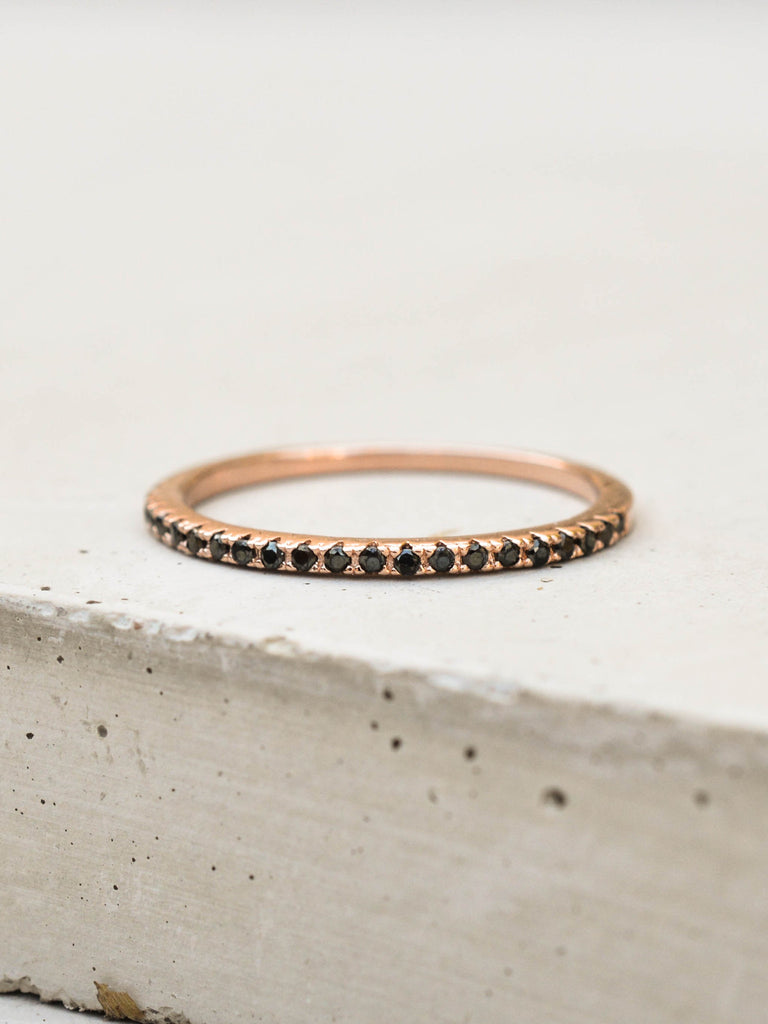 Rose Gold eternity band ring with black cubic zirconia