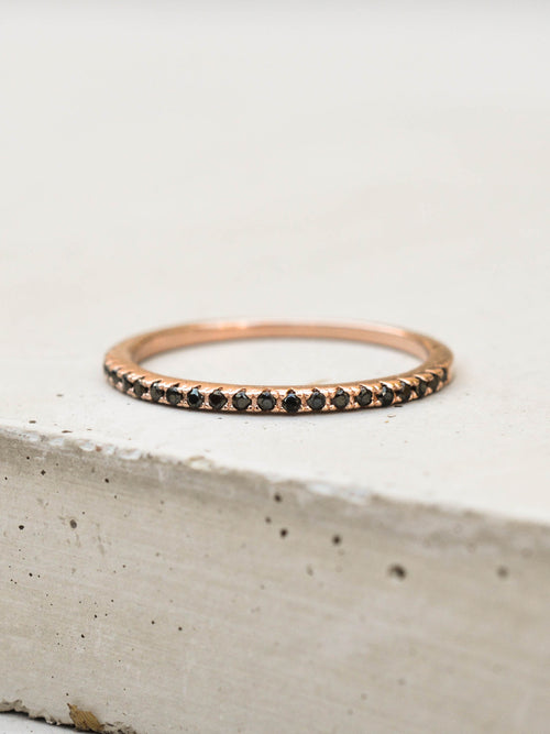 Rose Gold Eternity Stacking Ring with Black CZ by The Faint Hearted Jewelry