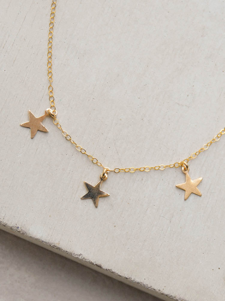 3 Star Charm Necklace by the faint hearted jewelry