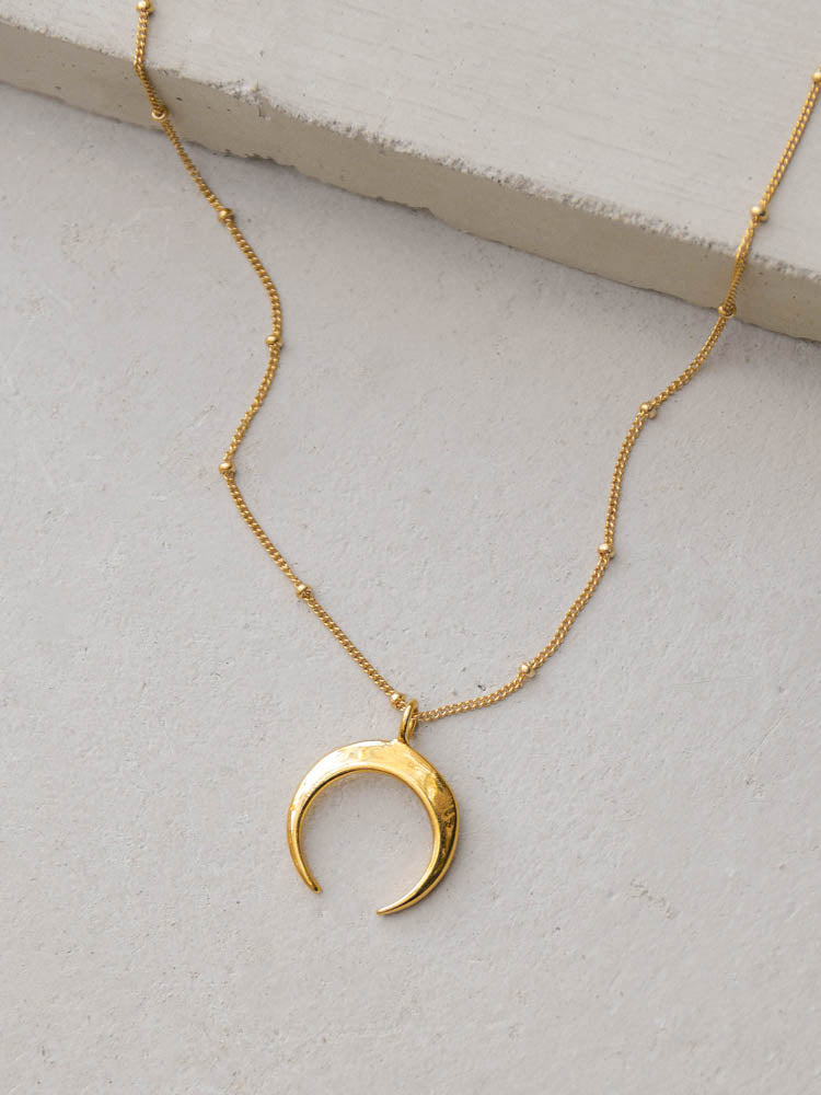 Gold Tusk Crescent Double Horn Necklace by The Faint Hearted Jewelry